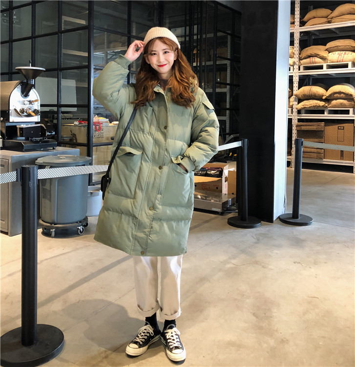 【即納】韓国 ファッション アウター ダウンジャケット ダウンコート 秋 冬 カジュアル SPTXD596  ペールカラー もこもこ ロング オーバーサイズ エコ オルチャン シンプル 定番 セレカジの写真3枚目