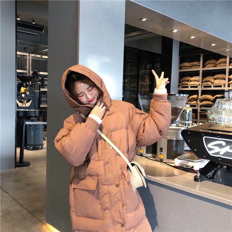 【即納】韓国 ファッション アウター ダウンジャケット ダウンコート 秋 冬 カジュアル SPTXD596  ペールカラー もこもこ ロング オーバーサイズ エコ オルチャン シンプル 定番 セレカジの写真4枚目