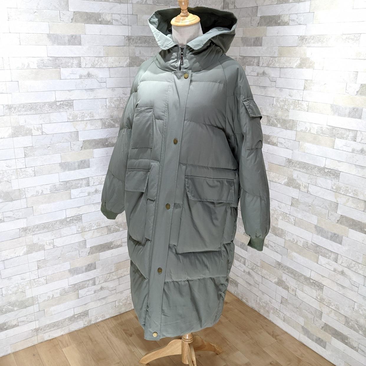 【即納】韓国 ファッション アウター ダウンジャケット ダウンコート 秋 冬 カジュアル SPTXD596  ペールカラー もこもこ ロング オーバーサイズ エコ オルチャン シンプル 定番 セレカジの写真12枚目