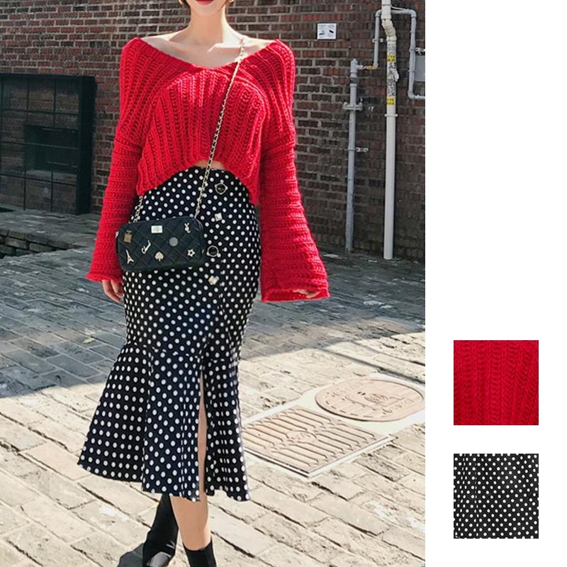 韓国 ファッション セットアップ 秋 冬 カジュアル PTXD696  ショート リブニット マーメイドスカート ローゲージ オーバーサイズ オルチャン シンプル 定番 セレカジの写真1枚目
