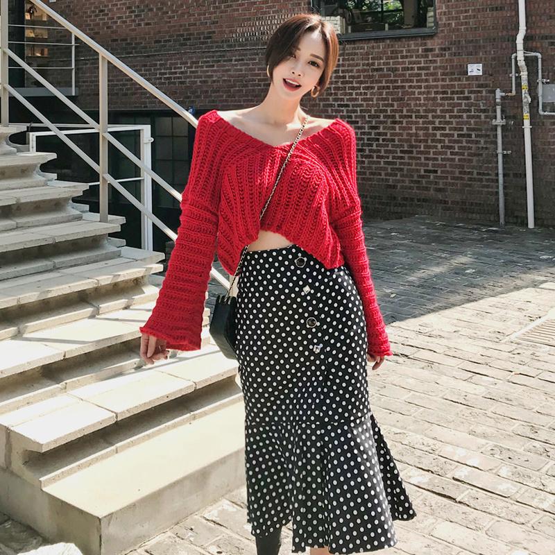 韓国 ファッション セットアップ 秋 冬 カジュアル PTXD696  ショート リブニット マーメイドスカート ローゲージ オーバーサイズ オルチャン シンプル 定番 セレカジの写真3枚目