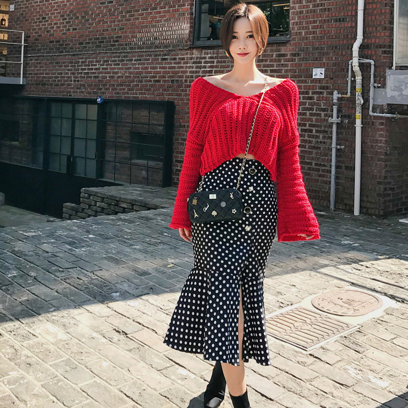 韓国 ファッション セットアップ 秋 冬 カジュアル PTXD696  ショート リブニット マーメイドスカート ローゲージ オーバーサイズ オルチャン シンプル 定番 セレカジの写真4枚目