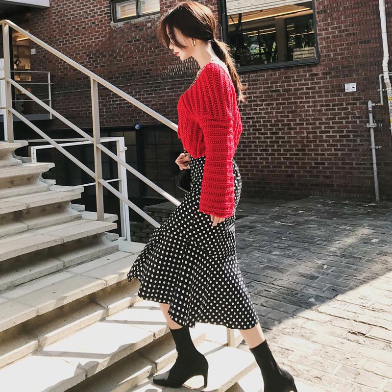 韓国 ファッション セットアップ 秋 冬 カジュアル PTXD696  ショート リブニット マーメイドスカート ローゲージ オーバーサイズ オルチャン シンプル 定番 セレカジの写真6枚目