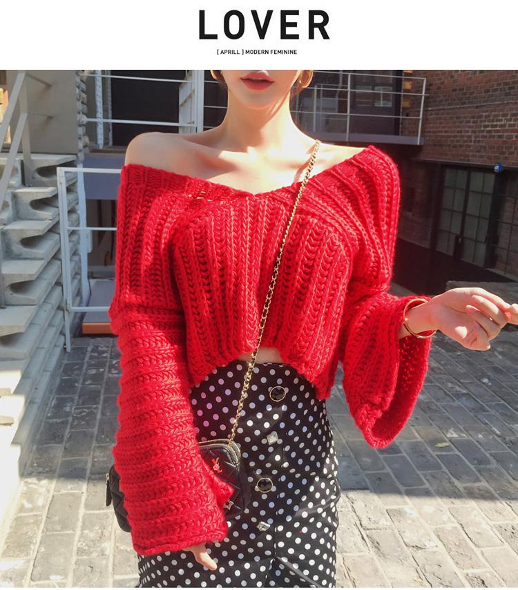 韓国 ファッション セットアップ 秋 冬 カジュアル PTXD696  ショート リブニット マーメイドスカート ローゲージ オーバーサイズ オルチャン シンプル 定番 セレカジの写真8枚目