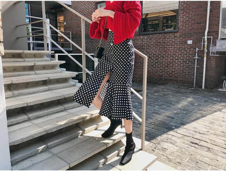 韓国 ファッション セットアップ 秋 冬 カジュアル PTXD696  ショート リブニット マーメイドスカート ローゲージ オーバーサイズ オルチャン シンプル 定番 セレカジの写真9枚目