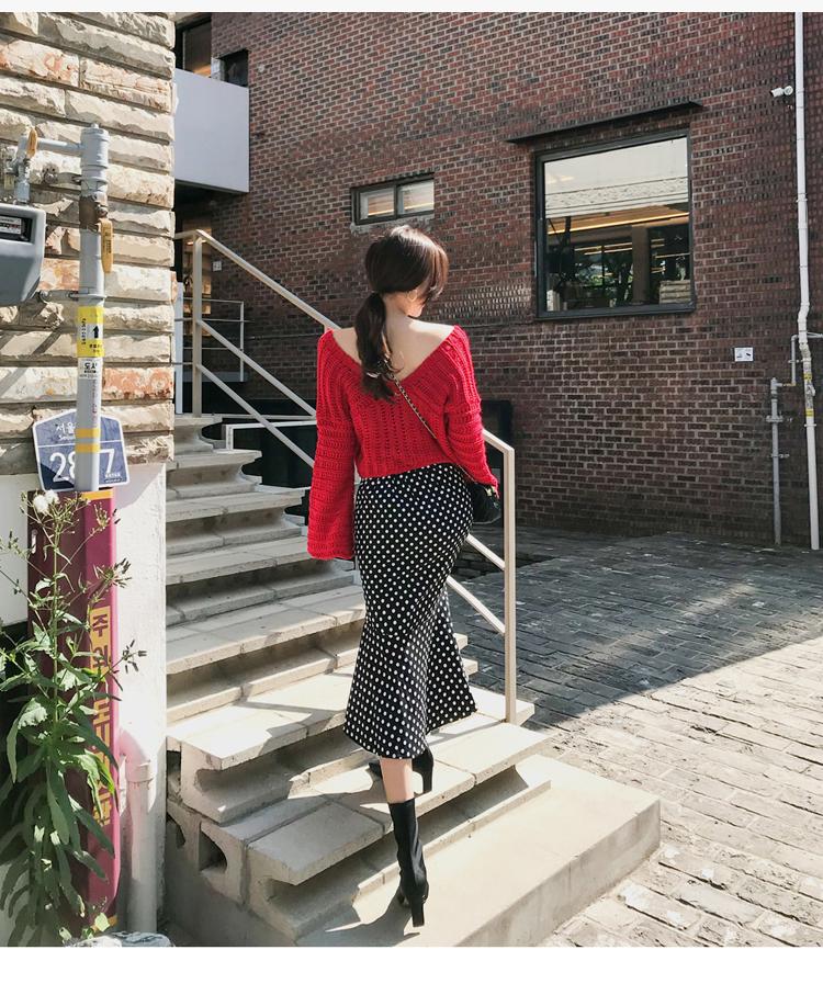 韓国 ファッション セットアップ 秋 冬 カジュアル PTXD696  ショート リブニット マーメイドスカート ローゲージ オーバーサイズ オルチャン シンプル 定番 セレカジの写真12枚目