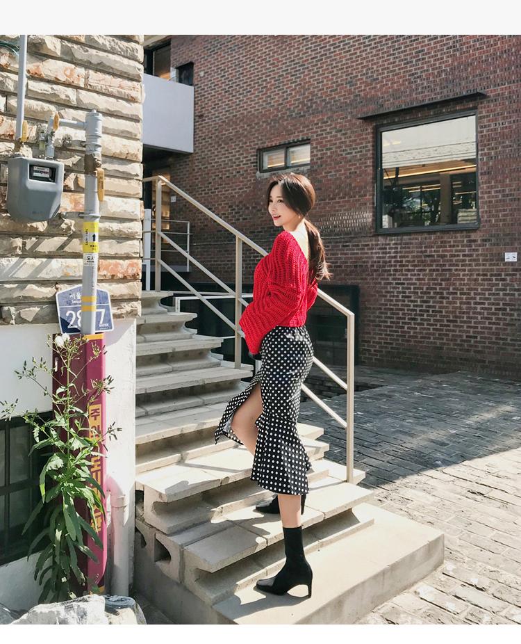 韓国 ファッション セットアップ 秋 冬 カジュアル PTXD696  ショート リブニット マーメイドスカート ローゲージ オーバーサイズ オルチャン シンプル 定番 セレカジの写真13枚目