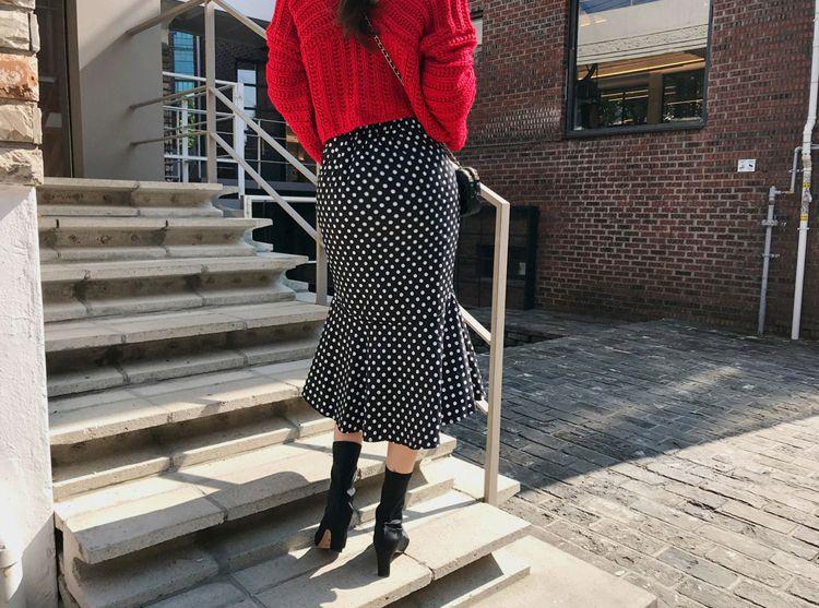 韓国 ファッション セットアップ 秋 冬 カジュアル PTXD696  ショート リブニット マーメイドスカート ローゲージ オーバーサイズ オルチャン シンプル 定番 セレカジの写真14枚目