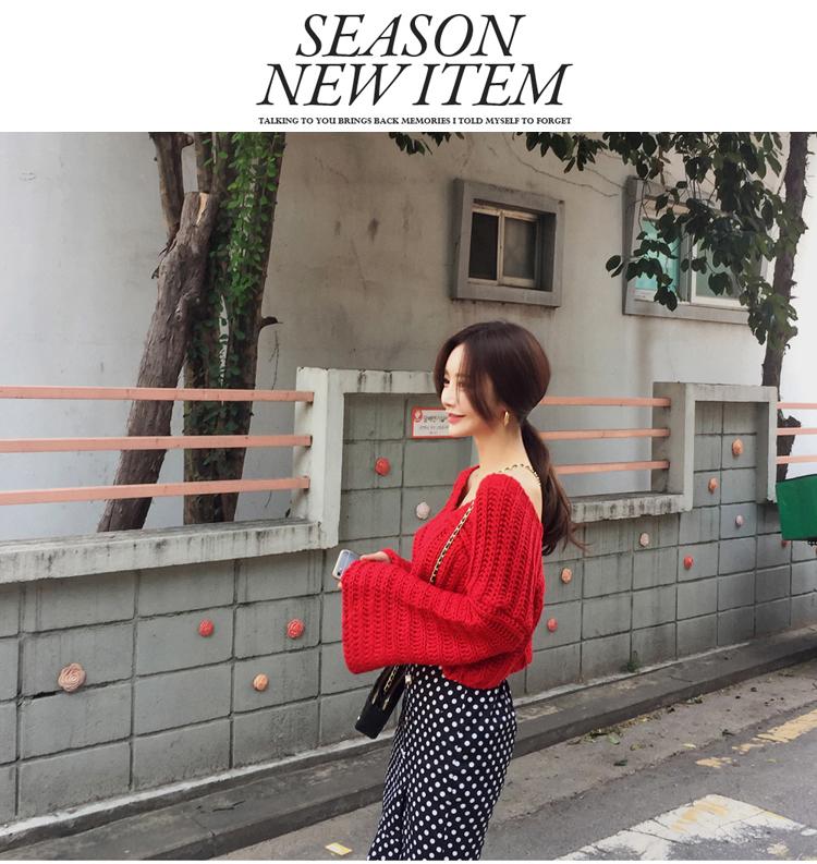韓国 ファッション セットアップ 秋 冬 カジュアル PTXD696  ショート リブニット マーメイドスカート ローゲージ オーバーサイズ オルチャン シンプル 定番 セレカジの写真16枚目