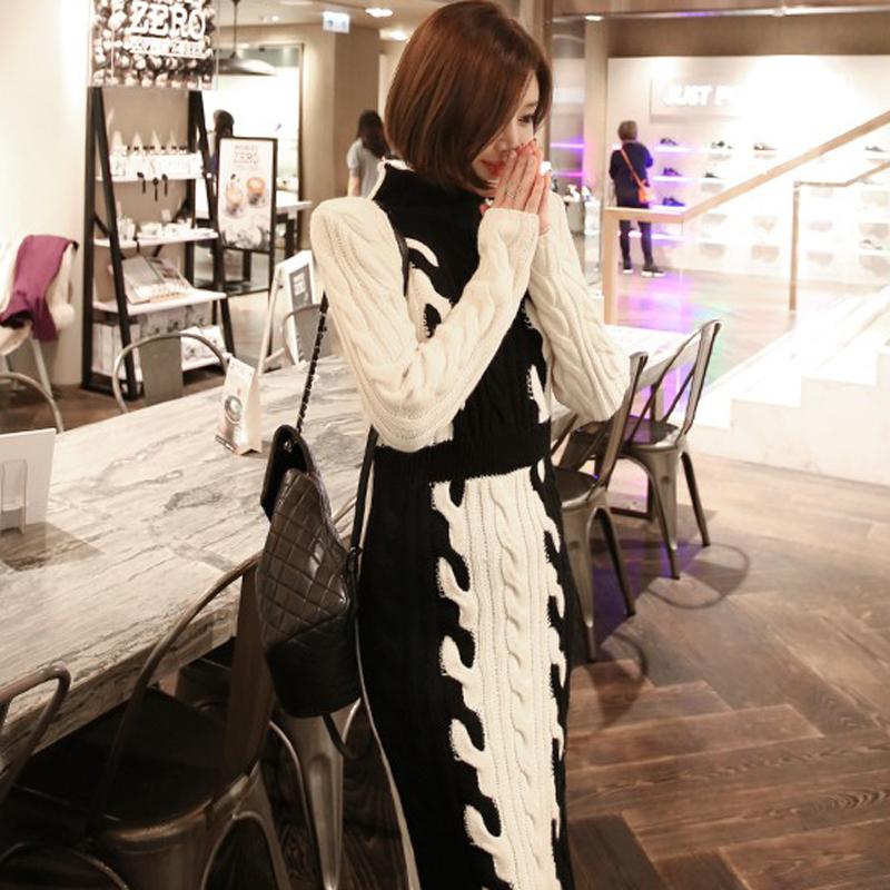韓国 ファッション ワンピース 秋 冬 カジュアル PTXD698  モノトーン ハイネック ウエストマーク ミディ丈 ケーブルニット オフィス オルチャン シンプル 定番 セレカジの写真2枚目