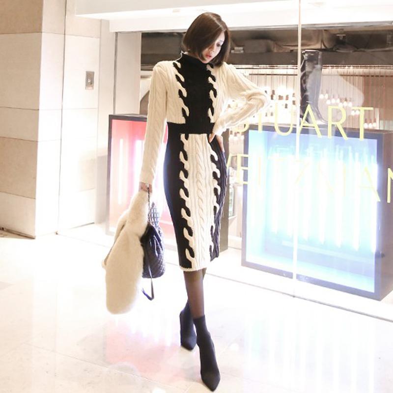 韓国 ファッション ワンピース 秋 冬 カジュアル PTXD698  モノトーン ハイネック ウエストマーク ミディ丈 ケーブルニット オフィス オルチャン シンプル 定番 セレカジの写真3枚目