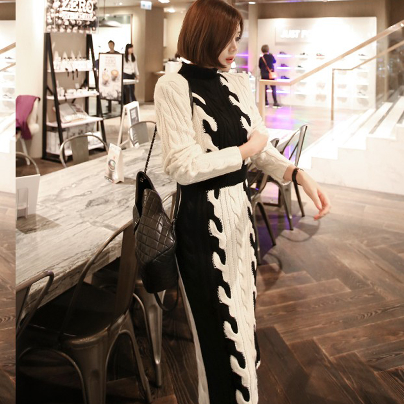 韓国 ファッション ワンピース 秋 冬 カジュアル PTXD698  モノトーン ハイネック ウエストマーク ミディ丈 ケーブルニット オフィス オルチャン シンプル 定番 セレカジの写真4枚目