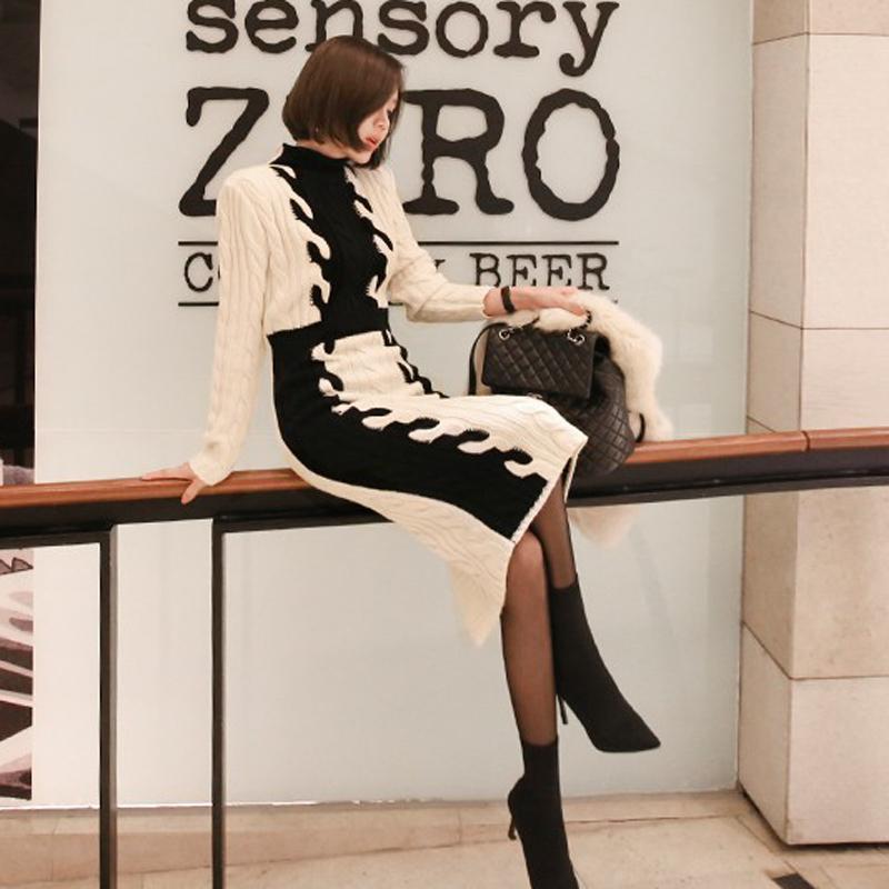 韓国 ファッション ワンピース 秋 冬 カジュアル PTXD698  モノトーン ハイネック ウエストマーク ミディ丈 ケーブルニット オフィス オルチャン シンプル 定番 セレカジの写真5枚目