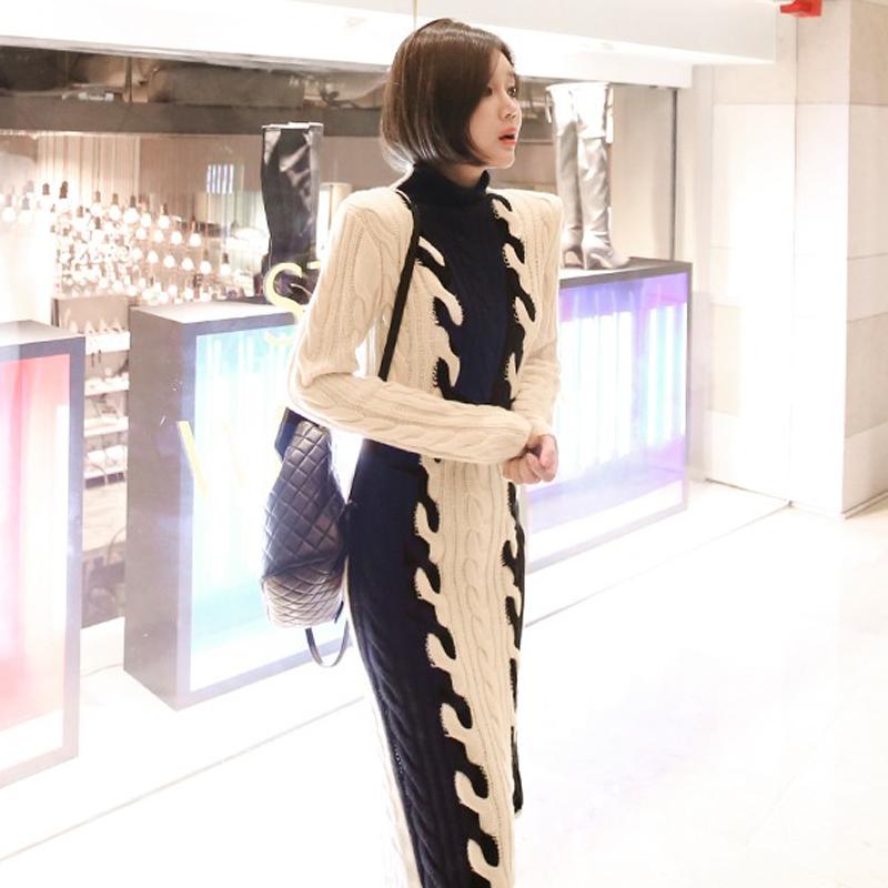 韓国 ファッション ワンピース 秋 冬 カジュアル PTXD698  モノトーン ハイネック ウエストマーク ミディ丈 ケーブルニット オフィス オルチャン シンプル 定番 セレカジの写真6枚目