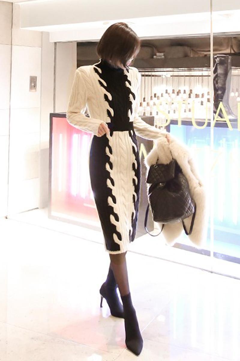 韓国 ファッション ワンピース 秋 冬 カジュアル PTXD698  モノトーン ハイネック ウエストマーク ミディ丈 ケーブルニット オフィス オルチャン シンプル 定番 セレカジの写真7枚目