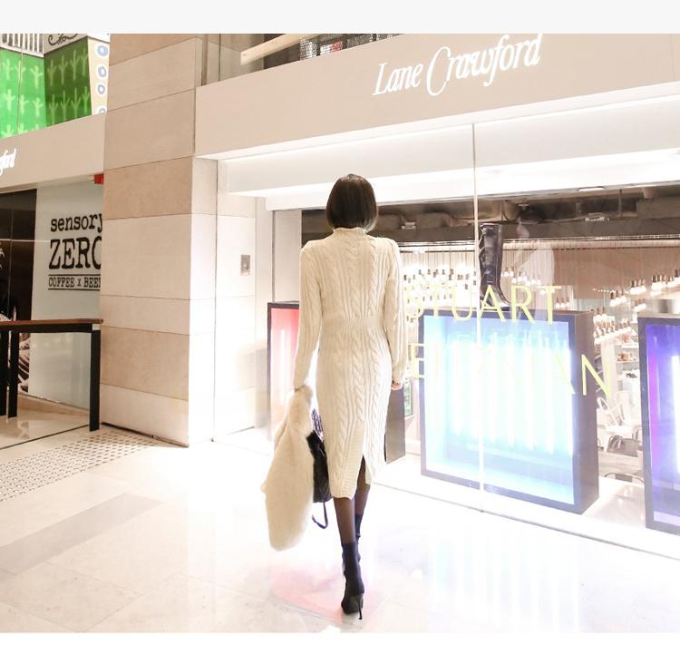 韓国 ファッション ワンピース 秋 冬 カジュアル PTXD698  モノトーン ハイネック ウエストマーク ミディ丈 ケーブルニット オフィス オルチャン シンプル 定番 セレカジの写真8枚目
