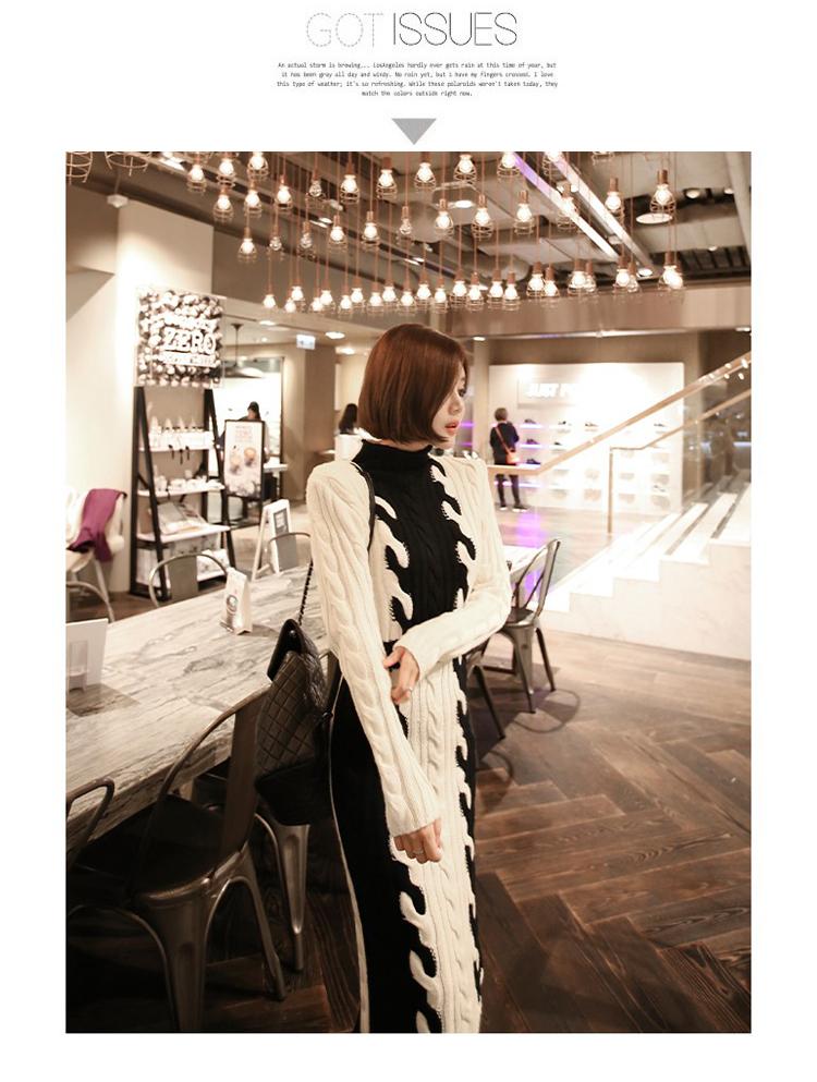 韓国 ファッション ワンピース 秋 冬 カジュアル PTXD698  モノトーン ハイネック ウエストマーク ミディ丈 ケーブルニット オフィス オルチャン シンプル 定番 セレカジの写真9枚目