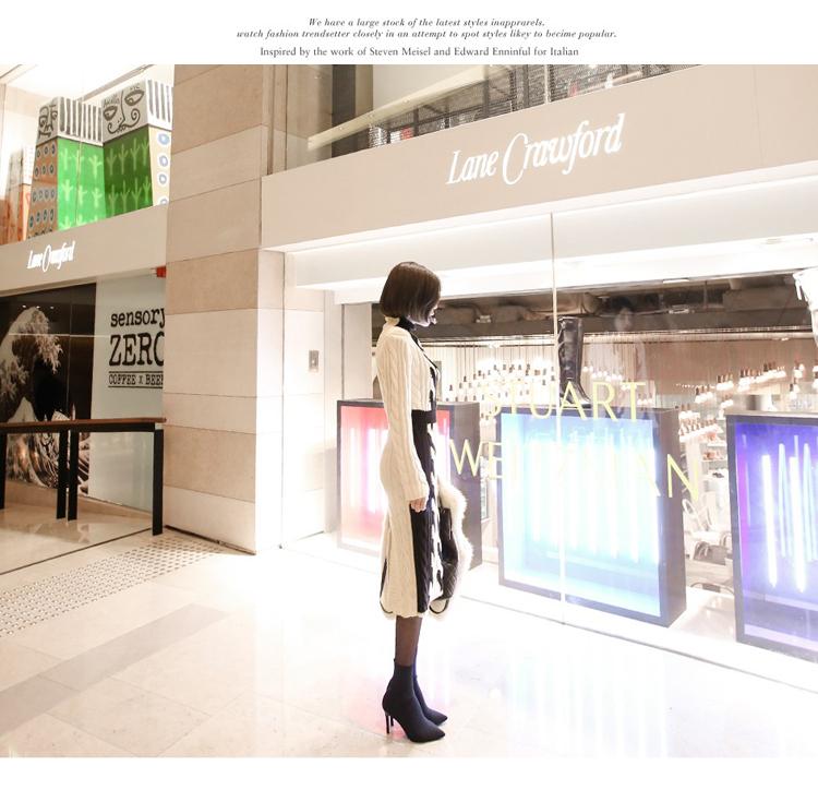 韓国 ファッション ワンピース 秋 冬 カジュアル PTXD698  モノトーン ハイネック ウエストマーク ミディ丈 ケーブルニット オフィス オルチャン シンプル 定番 セレカジの写真12枚目