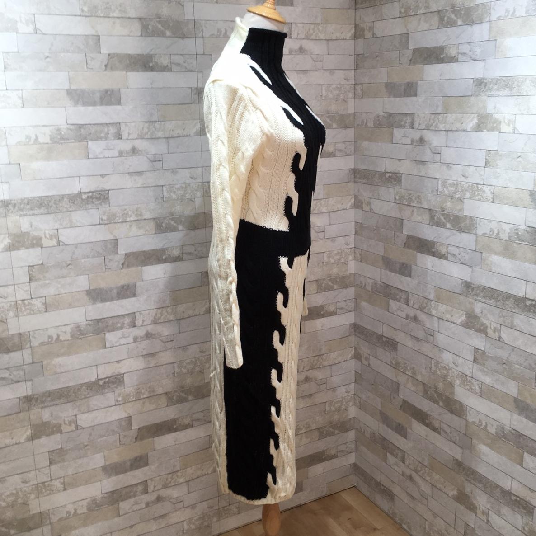 韓国 ファッション ワンピース 秋 冬 カジュアル PTXD698  モノトーン ハイネック ウエストマーク ミディ丈 ケーブルニット オフィス オルチャン シンプル 定番 セレカジの写真15枚目