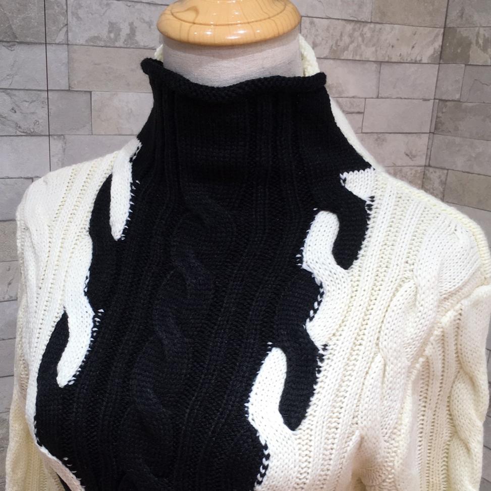 韓国 ファッション ワンピース 秋 冬 カジュアル PTXD698  モノトーン ハイネック ウエストマーク ミディ丈 ケーブルニット オフィス オルチャン シンプル 定番 セレカジの写真18枚目
