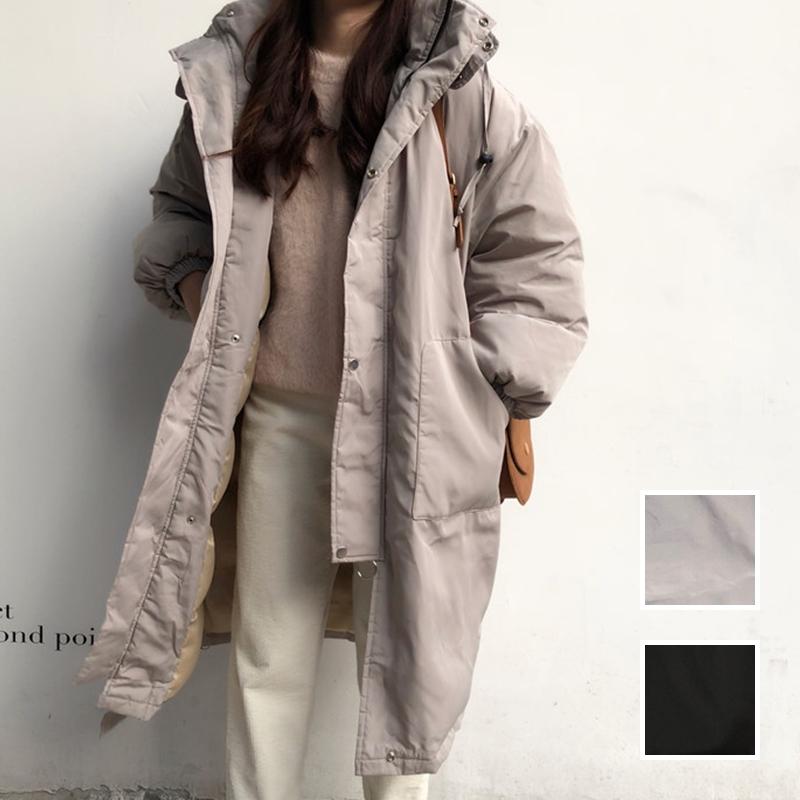 韓国 ファッション アウター ダウンジャケット ダウンコート 秋 冬 カジュアル PTXD856  ミモレ丈 ビッグシルエット 中綿 エコダウン ジャケット スタ オルチャン シンプル 定番 セレカジの写真1枚目