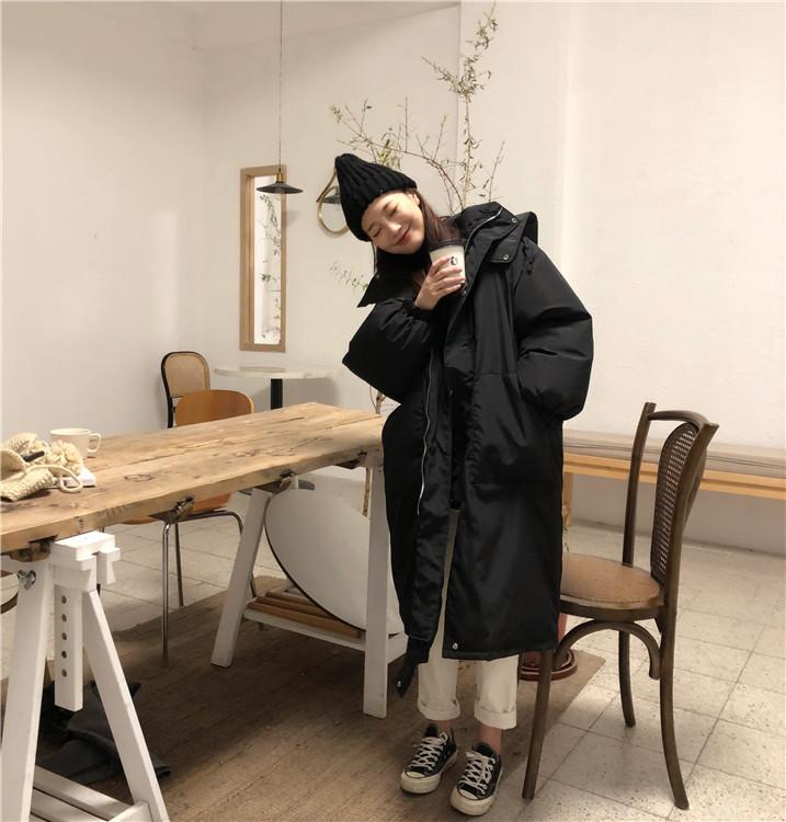 韓国 ファッション アウター ダウンジャケット ダウンコート 秋 冬 カジュアル PTXD856  ミモレ丈 ビッグシルエット 中綿 エコダウン ジャケット スタ オルチャン シンプル 定番 セレカジの写真2枚目