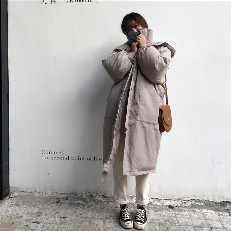 韓国 ファッション アウター ダウンジャケット ダウンコート 秋 冬 カジュアル PTXD856  ミモレ丈 ビッグシルエット 中綿 エコダウン ジャケット スタ オルチャン シンプル 定番 セレカジの写真5枚目