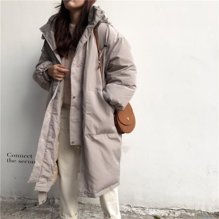 韓国 ファッション アウター ダウンジャケット ダウンコート 秋 冬 カジュアル PTXD856  ミモレ丈 ビッグシルエット 中綿 エコダウン ジャケット スタ オルチャン シンプル 定番 セレカジの写真6枚目