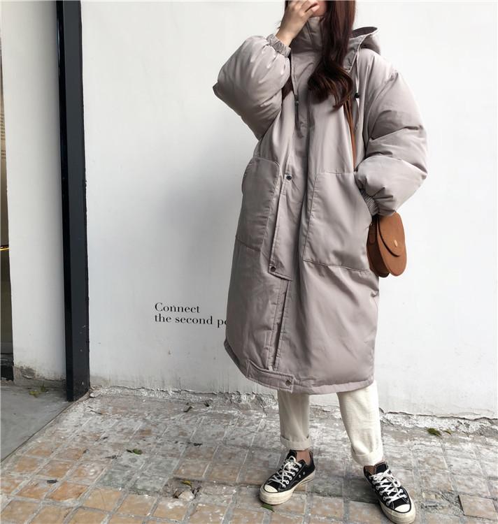 韓国 ファッション アウター ダウンジャケット ダウンコート 秋 冬 カジュアル PTXD856  ミモレ丈 ビッグシルエット 中綿 エコダウン ジャケット スタ オルチャン シンプル 定番 セレカジの写真7枚目