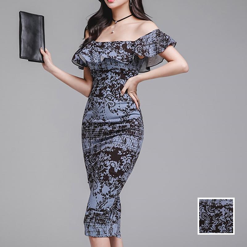 韓国 ファッション ワンピース パーティードレス ひざ丈 ミディアム 春 夏 パーティー ブライダル PTXD868 結婚式 お呼ばれ ブルーグレー ブラック ボタニカル 花 二次会 セレブ きれいめの写真1枚目