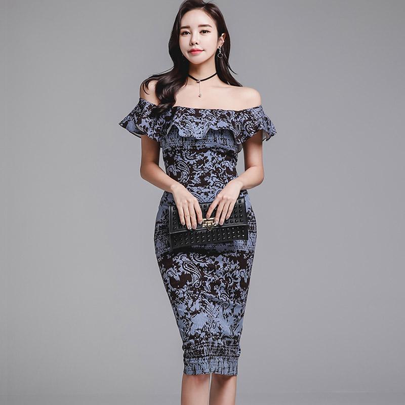 韓国 ファッション ワンピース パーティードレス ひざ丈 ミディアム 夏 春 パーティー ブライダル PTXD868 結婚式 お呼ばれ ブルーグレー ブラック ボタニカル 花 二次会 セレブ きれいめの写真2枚目