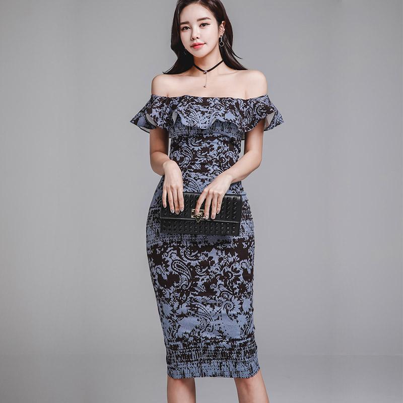 韓国 ファッション ワンピース パーティードレス ひざ丈 ミディアム 夏 春 パーティー ブライダル PTXD868 結婚式 お呼ばれ ブルーグレー ブラック ボタニカル 花 二次会 セレブ きれいめの写真4枚目