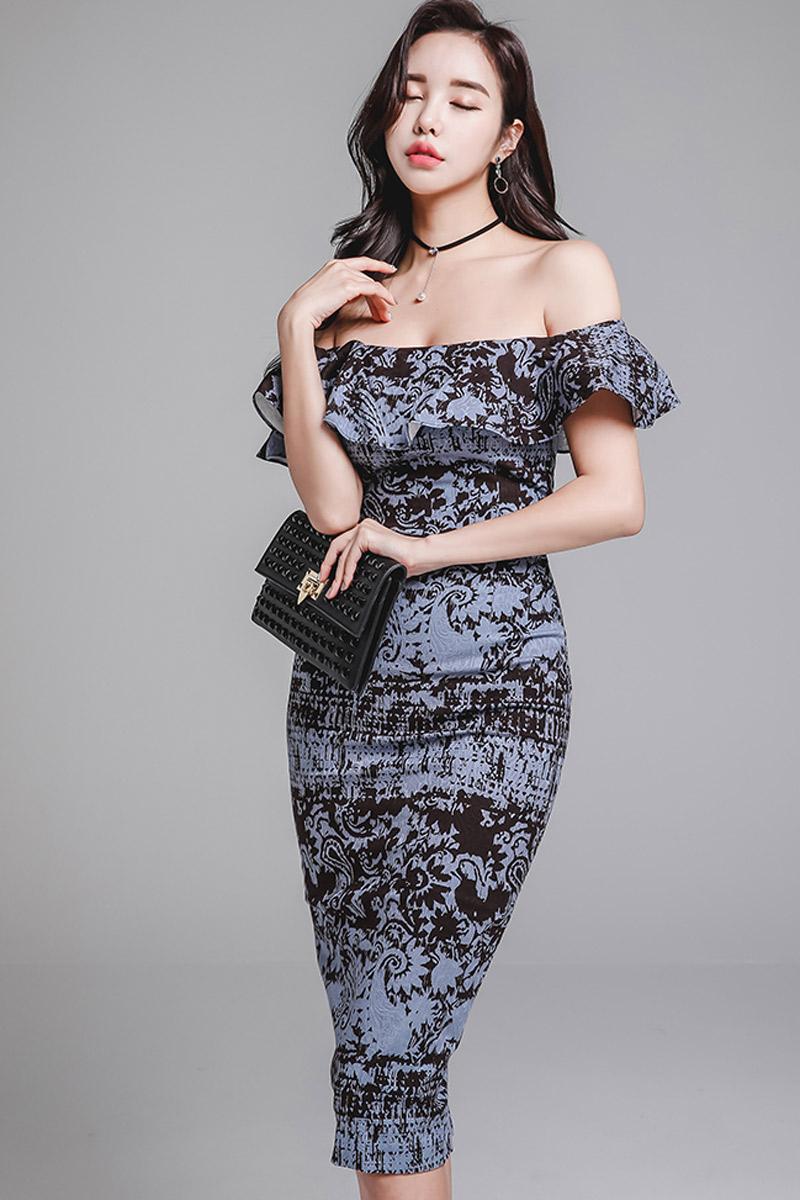 韓国 ファッション ワンピース パーティードレス ひざ丈 ミディアム 春 夏 パーティー ブライダル PTXD868 結婚式 お呼ばれ ブルーグレー ブラック ボタニカル 花 二次会 セレブ きれいめの写真7枚目
