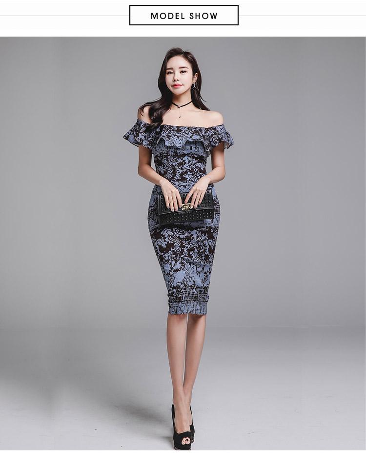 韓国 ファッション ワンピース パーティードレス ひざ丈 ミディアム 夏 春 パーティー ブライダル PTXD868 結婚式 お呼ばれ ブルーグレー ブラック ボタニカル 花 二次会 セレブ きれいめの写真9枚目