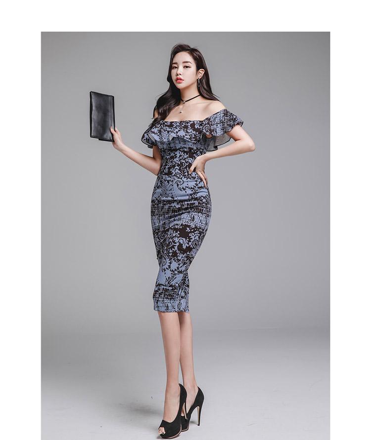 韓国 ファッション ワンピース パーティードレス ひざ丈 ミディアム 夏 春 パーティー ブライダル PTXD868 結婚式 お呼ばれ ブルーグレー ブラック ボタニカル 花 二次会 セレブ きれいめの写真12枚目