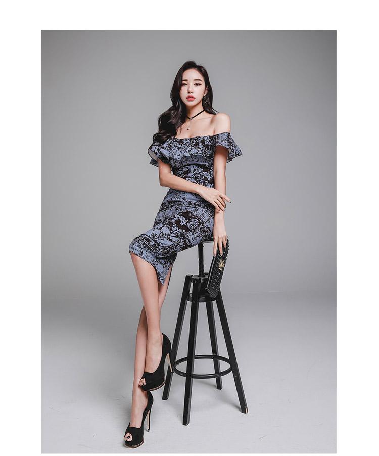 韓国 ファッション ワンピース パーティードレス ひざ丈 ミディアム 夏 春 パーティー ブライダル PTXD868 結婚式 お呼ばれ ブルーグレー ブラック ボタニカル 花 二次会 セレブ きれいめの写真14枚目