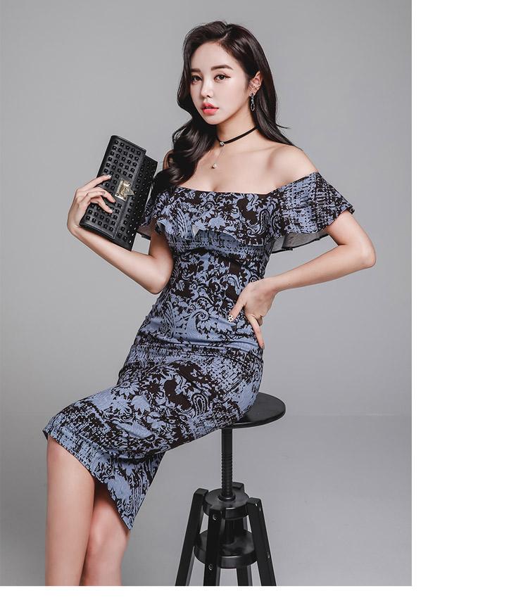 韓国 ファッション ワンピース パーティードレス ひざ丈 ミディアム 春 夏 パーティー ブライダル PTXD868 結婚式 お呼ばれ ブルーグレー ブラック ボタニカル 花 二次会 セレブ きれいめの写真15枚目