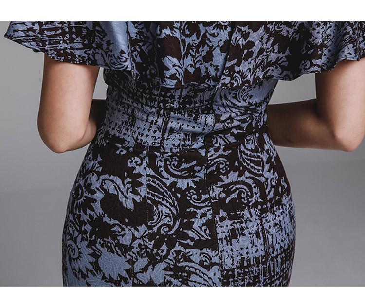 韓国 ファッション ワンピース パーティードレス ひざ丈 ミディアム 夏 春 パーティー ブライダル PTXD868 結婚式 お呼ばれ ブルーグレー ブラック ボタニカル 花 二次会 セレブ きれいめの写真19枚目