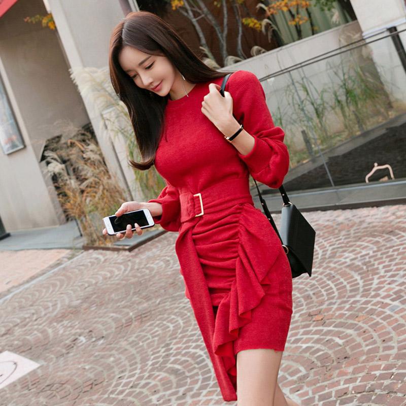 韓国 ファッション ワンピース パーティードレス ショート ミニ丈 秋 冬 パーティー ブライダル PTXD869 結婚式 お呼ばれ アシンメトリー ドレープ リブニットワン 二次会 セレブ きれいめの写真2枚目