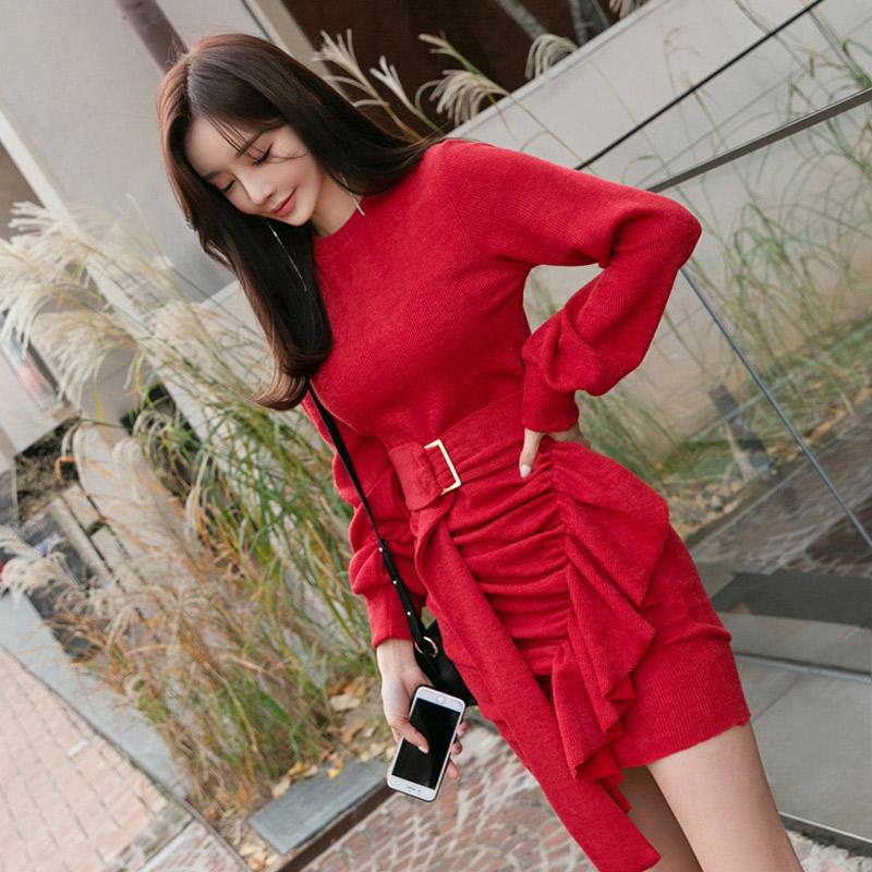 韓国 ファッション ワンピース パーティードレス ショート ミニ丈 秋 冬 パーティー ブライダル PTXD869 結婚式 お呼ばれ アシンメトリー ドレープ リブニットワン 二次会 セレブ きれいめの写真5枚目