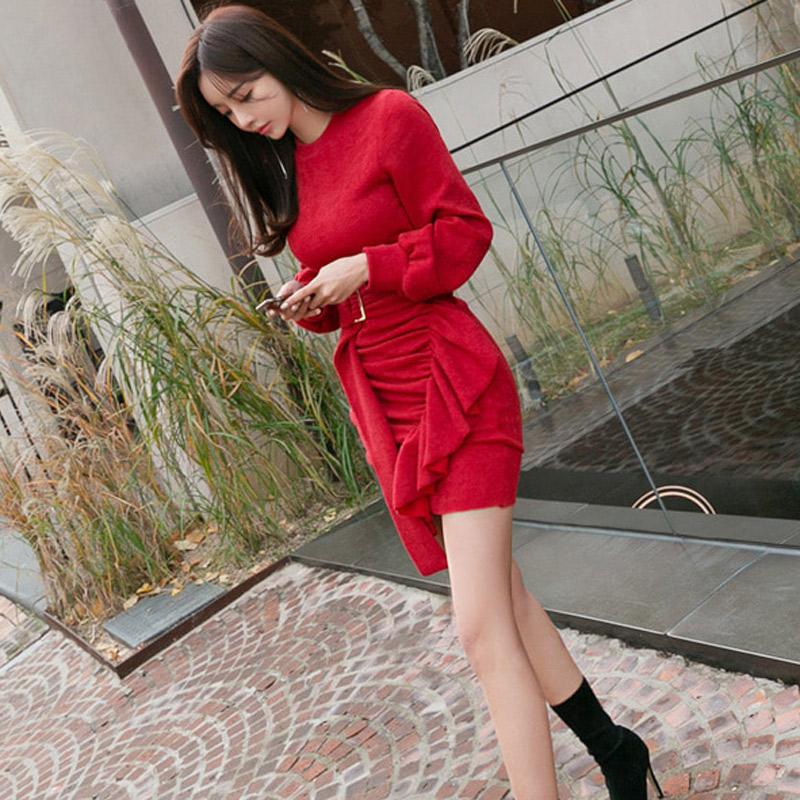韓国 ファッション ワンピース パーティードレス ショート ミニ丈 秋 冬 パーティー ブライダル PTXD869 結婚式 お呼ばれ アシンメトリー ドレープ リブニットワン 二次会 セレブ きれいめの写真6枚目
