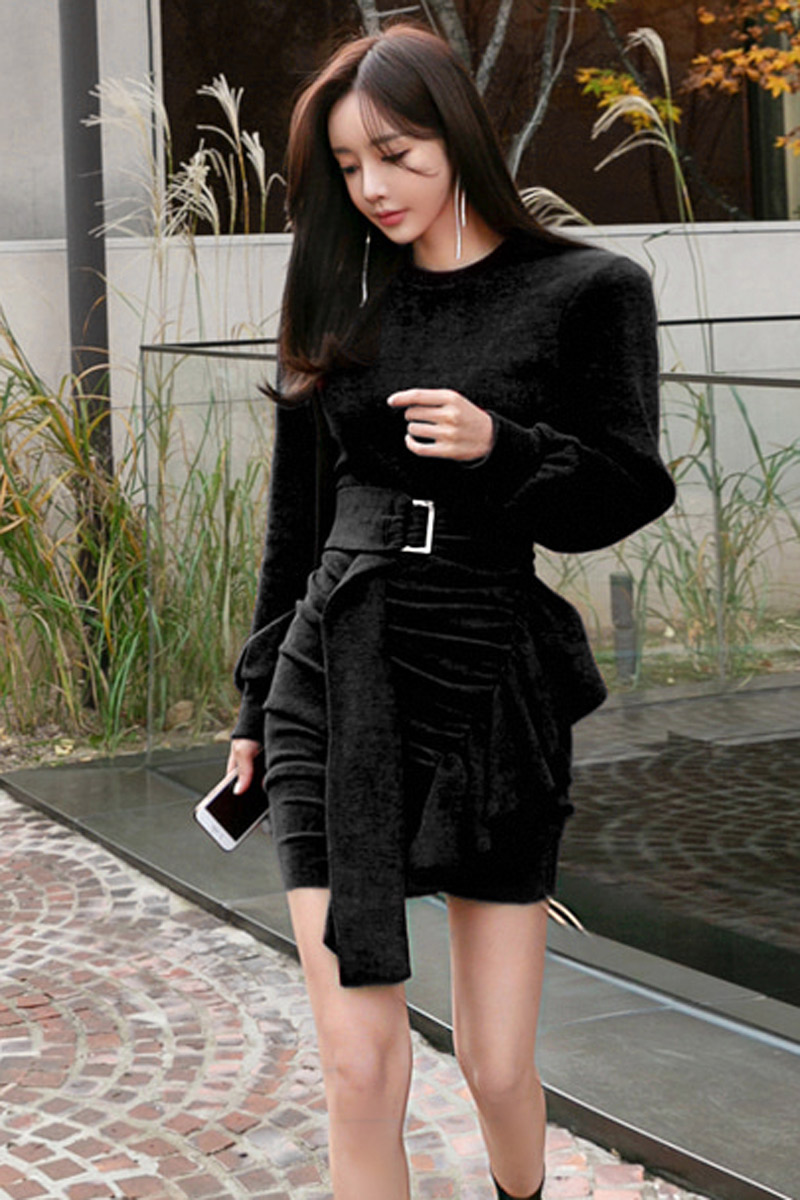 韓国 ファッション ワンピース パーティードレス ショート ミニ丈 秋 冬 パーティー ブライダル PTXD869 結婚式 お呼ばれ アシンメトリー ドレープ リブニットワン 二次会 セレブ きれいめの写真7枚目