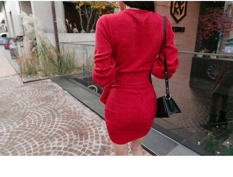 韓国 ファッション ワンピース パーティードレス ショート ミニ丈 秋 冬 パーティー ブライダル PTXD869 結婚式 お呼ばれ アシンメトリー ドレープ リブニットワン 二次会 セレブ きれいめの写真9枚目