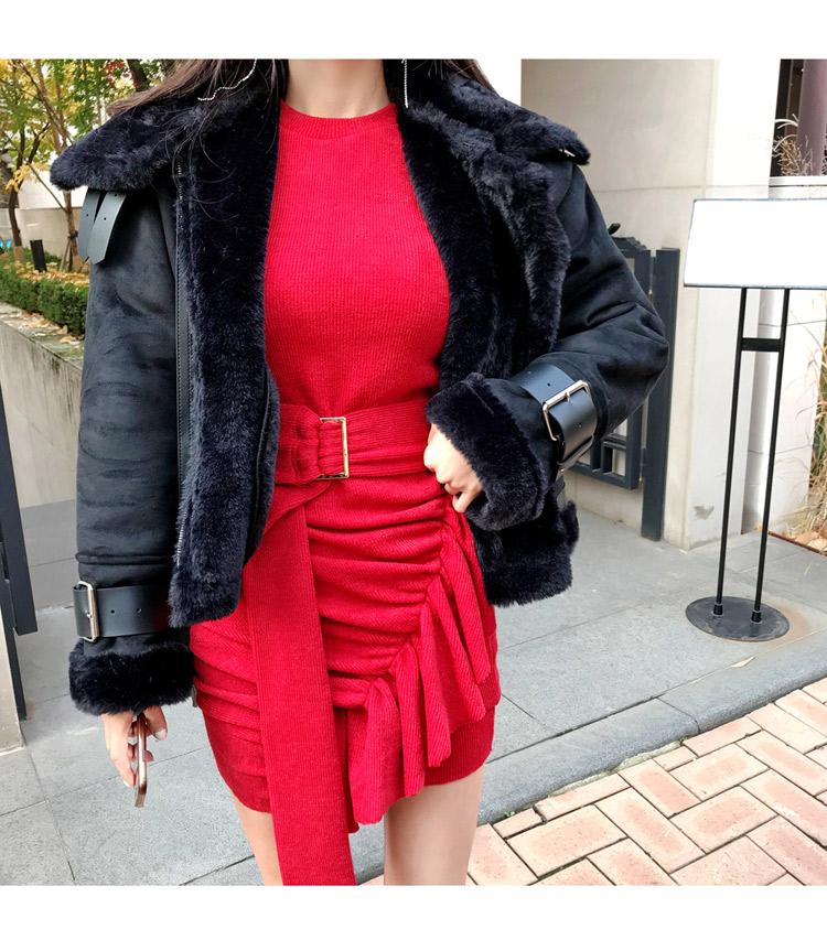 韓国 ファッション ワンピース パーティードレス ショート ミニ丈 秋 冬 パーティー ブライダル PTXD869 結婚式 お呼ばれ アシンメトリー ドレープ リブニットワン 二次会 セレブ きれいめの写真10枚目