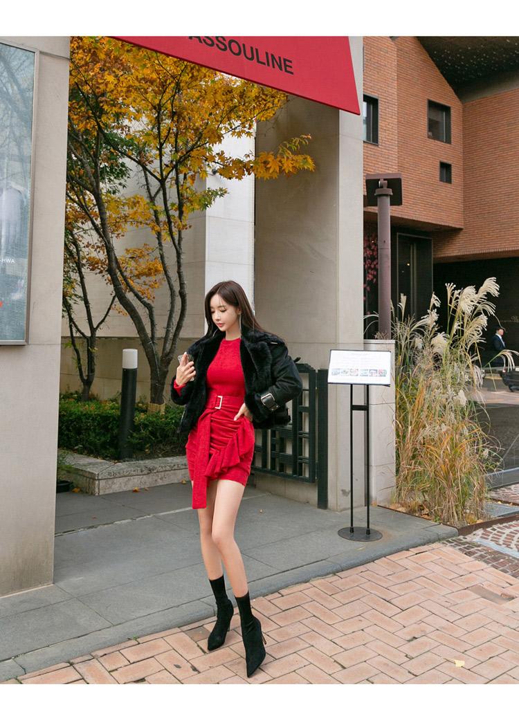 韓国 ファッション ワンピース パーティードレス ショート ミニ丈 秋 冬 パーティー ブライダル PTXD869 結婚式 お呼ばれ アシンメトリー ドレープ リブニットワン 二次会 セレブ きれいめの写真11枚目