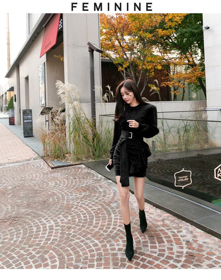 韓国 ファッション ワンピース パーティードレス ショート ミニ丈 秋 冬 パーティー ブライダル PTXD869 結婚式 お呼ばれ アシンメトリー ドレープ リブニットワン 二次会 セレブ きれいめの写真14枚目