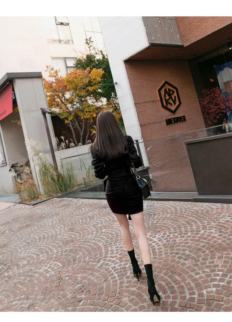 韓国 ファッション ワンピース パーティードレス ショート ミニ丈 秋 冬 パーティー ブライダル PTXD869 結婚式 お呼ばれ アシンメトリー ドレープ リブニットワン 二次会 セレブ きれいめの写真15枚目