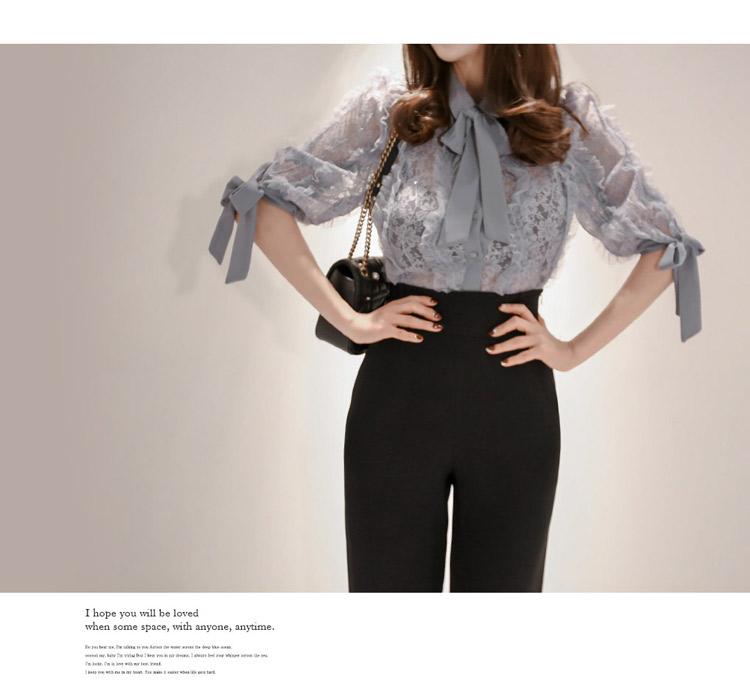 韓国 ファッション パンツ セットアップ パーティードレス 結婚式 お呼ばれドレス 春 秋 冬 パーティー ブライダル PTXE127  フリル レース ブラウス ハイウエス 二次会 セレブ きれいめの写真7枚目
