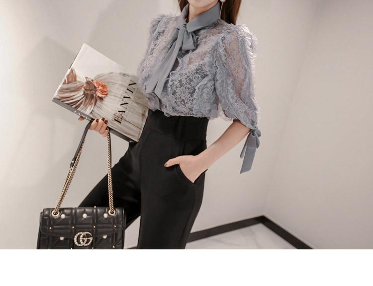 韓国 ファッション パンツ セットアップ パーティードレス 結婚式 お呼ばれドレス 春 秋 冬 パーティー ブライダル PTXE127  フリル レース ブラウス ハイウエス 二次会 セレブ きれいめの写真12枚目