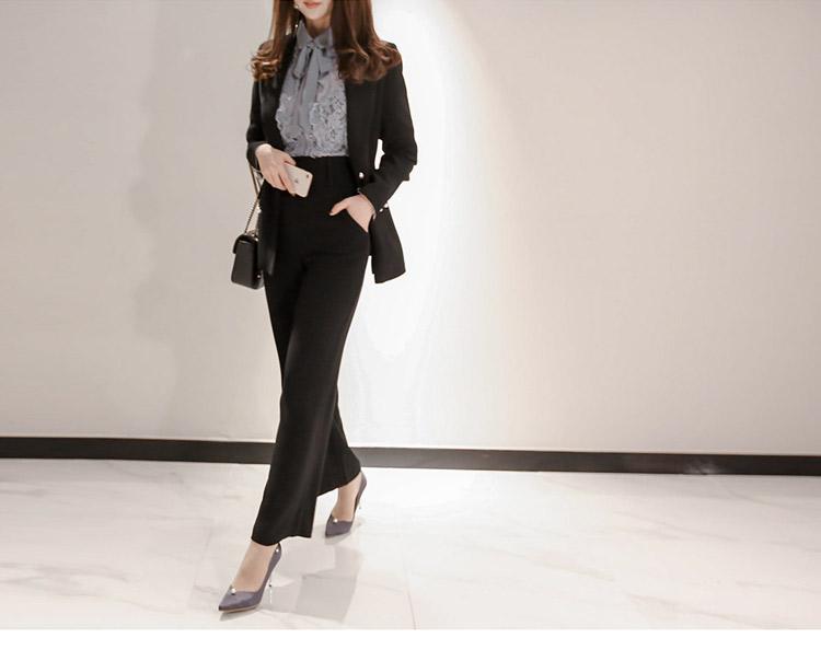 韓国 ファッション パンツ セットアップ パーティードレス 結婚式 お呼ばれドレス 春 秋 冬 パーティー ブライダル PTXE127  フリル レース ブラウス ハイウエス 二次会 セレブ きれいめの写真15枚目